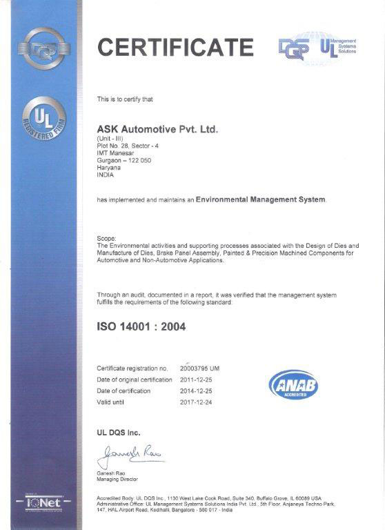 Certificate ISO 14001:2004